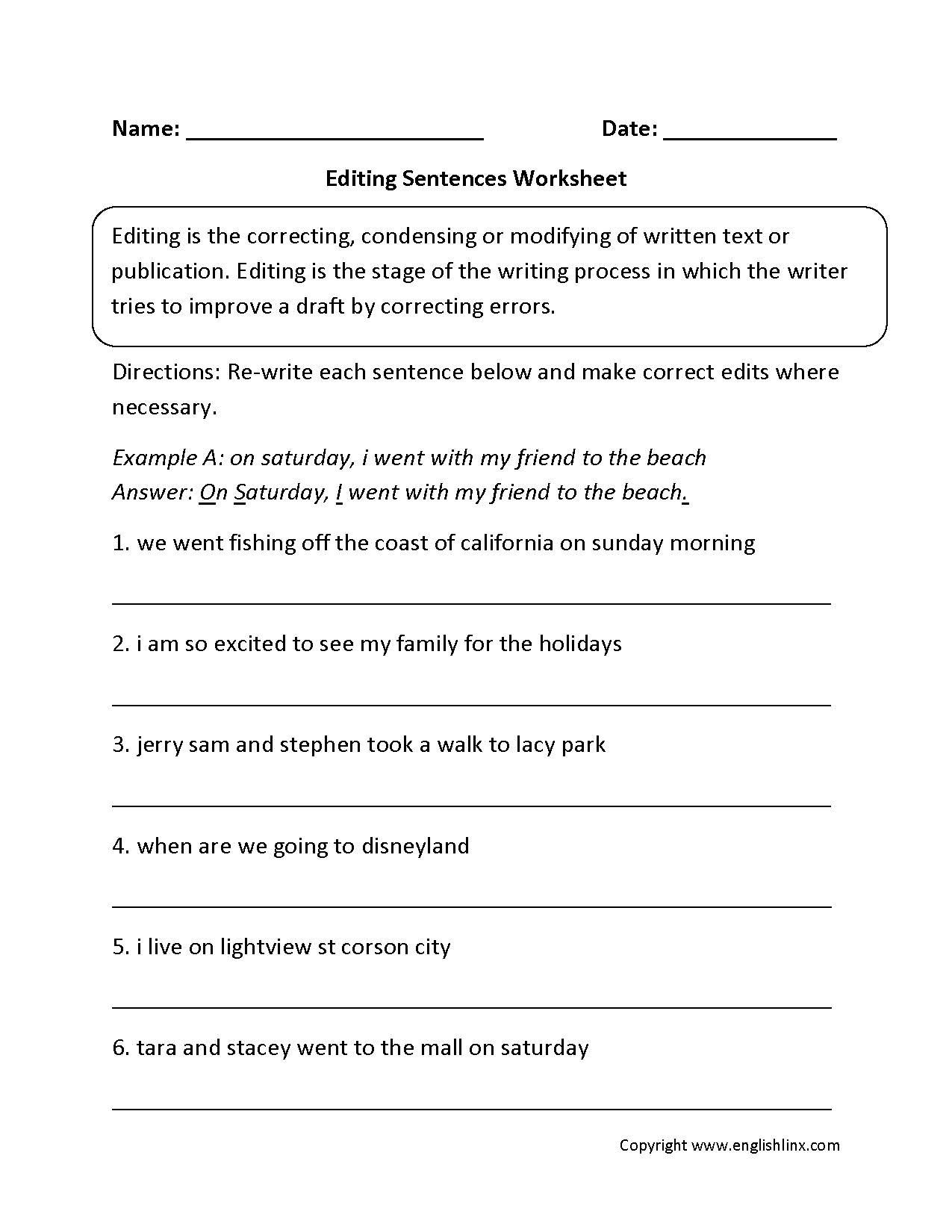 Writing Worksheets | Editing Worksheets - Free Printable Sentence | Free Printable Sentence Correction Worksheets